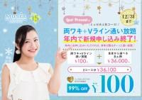 【年内で終了!】両ワキ+Vライン通い放題100円!!!